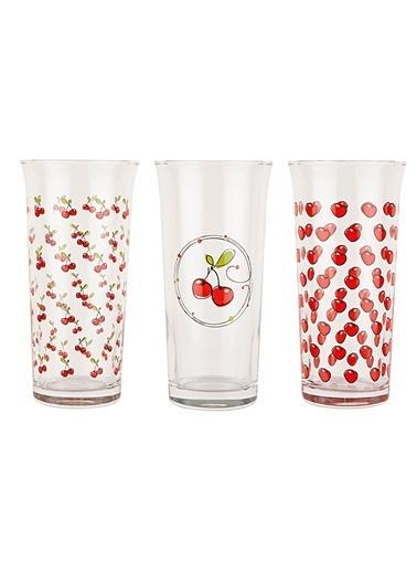 Tantitoni 6 Parça Vişne Desenli Meşrubat Bardağı Takımı Renkli